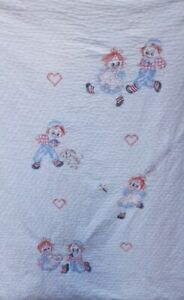 Vintage Raggedy Ann amp; Andy Hand Embroidered Throw Blanket Quilt 40x57 Dog Hearts $24.99