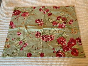 Pottery Barn COTTAGE CABBAGE ROSE Pink Yellow Green Standard Pillow Sham Shabby