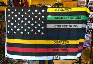 Thin Multi Line Flag 3x5 Red Blue Green Support Banner Police Fire USA