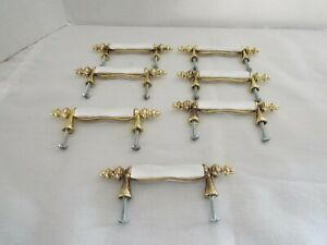 Lot of 7 White Porcelain & Brass Drawer/ Cabinet Door Pulls
