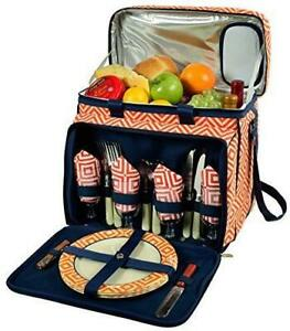 (D) Deluxe Picnic Cooler for Four, Full Equipment Backpack Bag (Orange)