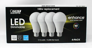 Feit Electric LED Dimmable 3000K Bright White 100W Replacement Bulbs 4 Pack