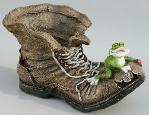 Boot Planter Frog Flower Pot Sculpture Garden Statue Toad Outdoor Decor Large