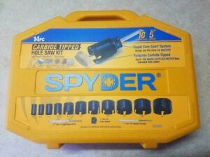 NEW GENUINE Spyder 14-Piece Carbide Tipped Deep Cut Hole Saw Kit 600880