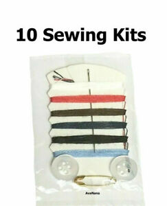 10 Travel Sewing Kits 6 Colors of Thread 1 Needle 2 Buttons amp; 1 Pin 10 pc ea $10.00