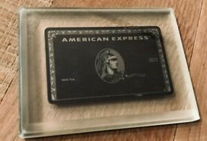 American Express Centurion Black Card in the glass. Super RARE ! + leather tag