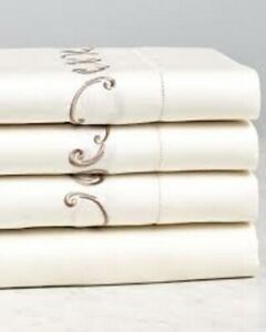 Sferra Nollio Ivory Queen Flat Sheet Mocha Embroidery Egyptian Cotton Sateen NEW