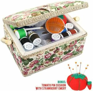 Medium Sewing Basket Sewing Storage and Organizer with Complete Sewing Kit Acces $36.99