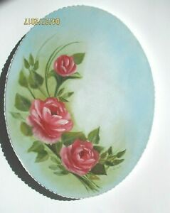 Hand Painted Oval Oil 11 X 14 Pink Roses Shabby Chic Victorian