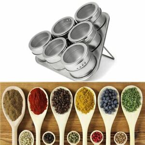 Stainless Steel Magnetic Spice Sauce Container Box Jar Tins With Rack Holder-
