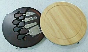 Trudeau 5-Piece Cheese Set with Wood Cutting Board & Stainless Steel Knives