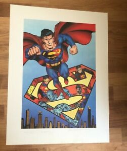Superman  Lithograph WARNER BROS  SOLD OUT  RETAIL $375 UN-FRAMED
