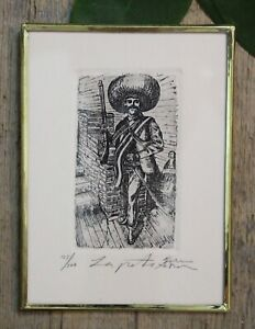 Emiliano Zapata Revolutionary Etching Handmade Framed Etching by Abelar Mexican $29.00