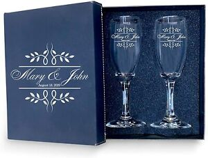 Bride & Groom Date Flutes-Set of 2 Personalized Wedding Champagne Glass with box