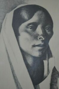 Kenneth M Adams Framed Lithograph Taos Indian Woman 16