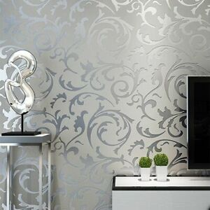 Grey Wallpaper 3D Victorian Damask Roll Silver Luxury Wall Covering Home Decor