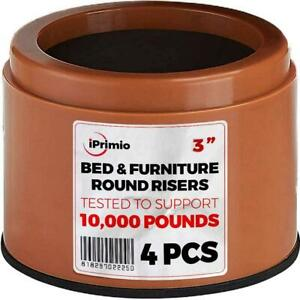 """iPrimio Bed and Furniture Risers – 4 Pack Round Elevator up to 3"""" Lifts Up t"""