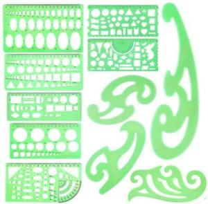 11 PCS Geometric Drawings Templates Stencils French Curve Engineering Drafting T $22.99