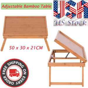 Portable Adjustable Folding Bed Table Dining Tray Laptop TV Desk Bamboo 5 Gears