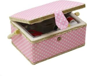 Medium Sewing Basket with Accessories Wooden Sewing Box Organizer Box for Sewin $35.99