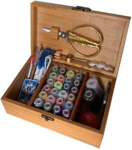A.Dinsenen Wooden Sewing Basket with Sewing Kit AccessoriesSewing Box $23.99