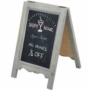 15-inch Mini Tabletop Gray Wood A-Frame Double-Sided Chalkboard Sign Easel