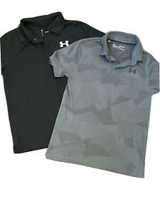 Under Armour LOT 2 Boys Youth LARGE Short Sleeve Golf Polo Shirts Dri Fit Like $24.95