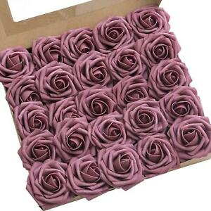 Lings moment Roses Artificial Flowers 25pcs Realistic Mauve Roses with Stem for $17.99