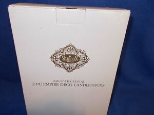 Shannon EMPIRE DECO candlestick pair, by Godinger, 24% lead crystal; new in box