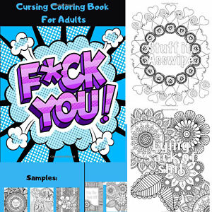 Adult coloring book swear word Stress relief Relax Hilarious Patterns Design