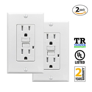 PROCURU 2 Pack - 15A Tamper Resistant GFCI Receptacle Outlet with LED Indicator