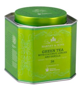 HRP Green Tea with Coconut, Ginger, and Vanilla 30 ct Sachet Tin