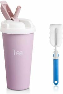Insulated Travel Mug with Straw - 16.9 Oz Double Wall Stainless Steel