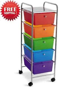 Rainbow Rolling Cart with 5 Drawers by Recollections _ Free Ship