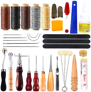 35 Pcs Leather Tool Kit Leather Working Tools and Supplies Leather Sewing Kit $20.99