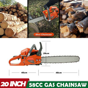 20quot; Chainsaw 58CC Powerful Gas Chainsaw 2 Stroke Power Handed Petrol Chain Saw $109.49