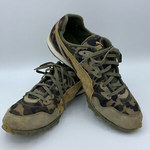 Puma Cross Country Camouflage Women#x27;s Running Shoes Sz 10 Army Green Lightweight