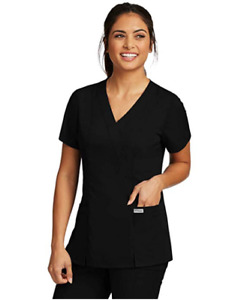 Greys Anatomy Womens Scrubs Princess Seams Mock Wrap Top 41101 All Color amp; Size