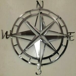 Fathers Day Gift Nautical Decor Compass Metal Art Plasma Cut Sign Made in USA