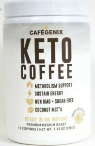 1 Cafegenix 7.9 Oz Keto Coffee Non GMO 15 Serving Instant Premium Medium Roast