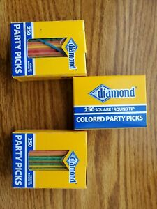 Diamond 250 Square/Round Tip Colored Party Toothpicks LOT OF Three (3) Boxes!