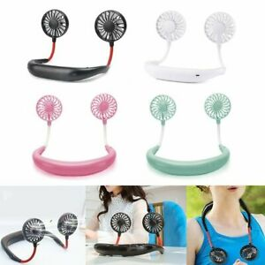 Portable USB Rechargeable Neckband Lazy Neck Hanging Dual Cooling Mini Fan $8.95