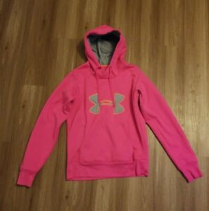 Under Armour Pink womens Logo Storm Semi fitted Pullover Hoodie Hoody Small S $12.99