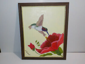 Vintage Painting on Canvas Board L. Copeland Signed HUMMINGBIRD FLOWER $49.99