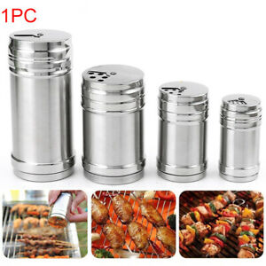 Stainless Seasoning  Shaker Bottle Jar BBQ Salt Pepper Condiment Box