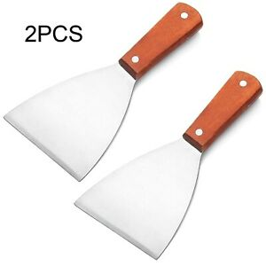 2PCS Stainless Steel Slant Grill Griddle Spatula Scraper Diner Flat Straight