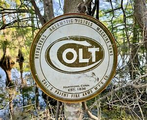 Colt Round Logo Vintage Metal Tin Sign Wall Decor Garage Shop Art Gift Under $20