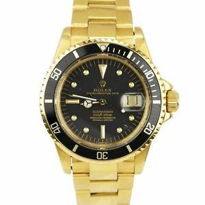 Vintage 1976 Rolex Submariner Date Black Nipple Dial 18K Yellow Gold Watch 1680