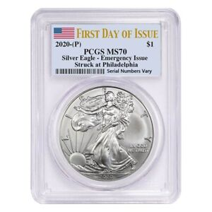 2020 (P) 1 oz Silver American Eagle PCGS MS 70 FDOI Emergency Issue $208.00
