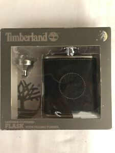 NEW TIMBERLAND LEATHER COVERED FLASK FILLING FUNNEL 6 OZ STEEL ALCOHOL GIFT